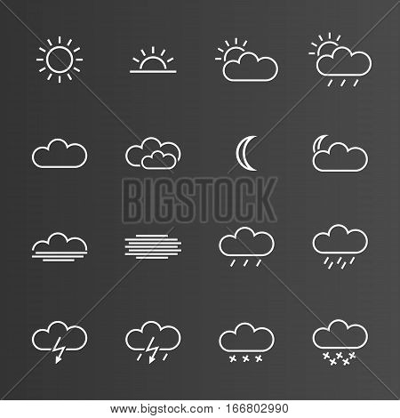 Set of simple weather icons isolated on grey background