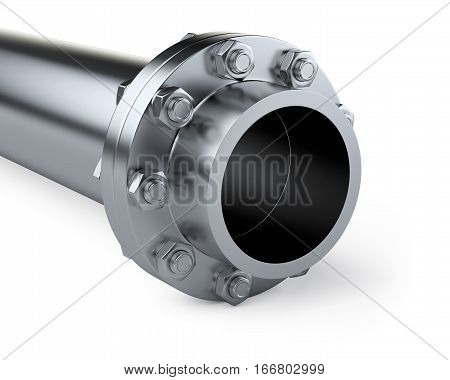 Flanges pipe with nuts and bolts. Pipeline in oil and gas industry. 3d illustration isolated on white background.