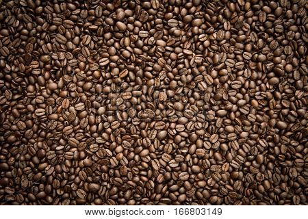 Fresh roasted coffee beans background for your cafe
