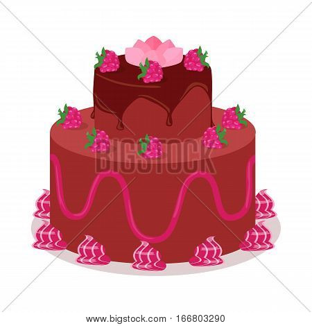 Delicious cake. Festive cake web banner. Chocolate cake bakery isolated design flat. Birthday cake,  sweet confectionery, delicious cream, tasty pastry cake. Vector illustration