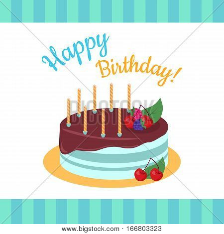 Happy Birthday cake with strawberries isolated. Cake with chocolate. Birthday or wedding cake ,  strawberry and kiss, food sweet pie with cream and fruit vector illustration