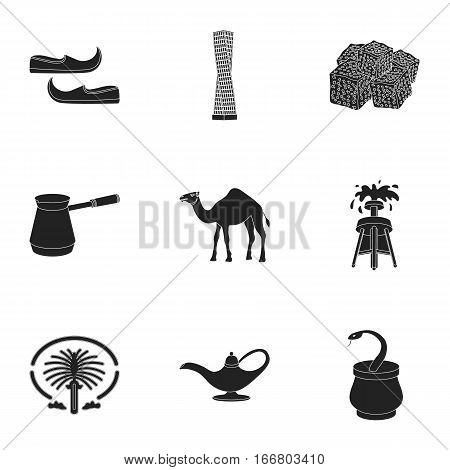 Arab Emirates set icons in black style. Big collection of Arab Emirates vector symbol stock