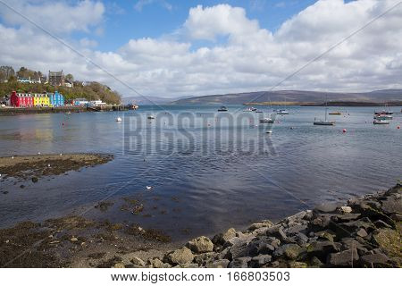 Tobermory bay Isle of Mull Scotland uk in Scottish Inner Hebrides on a beautiful spring day with sunshine