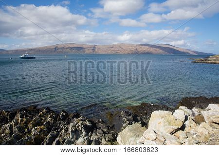 Craignure Isle of Mull Argyll and Bute Scotland uk coast view to Morvern in spring
