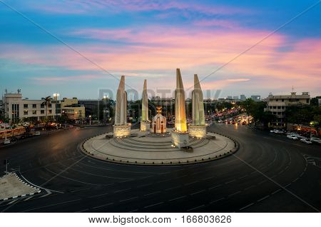 The Democracy Monument at twilight time at BangkokThailand