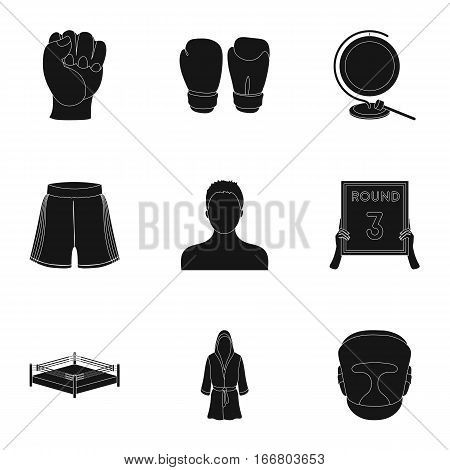 Boxing set icons in black design. Big collection of boxing vector symbol stock illustration
