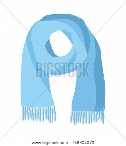 Knitted scarf isolated on white background. Unisex blue warm woolen scarf with trim. Autumn and winter season accessory. Kremer, muffler or neck-wrap. Worn around neck for warmth and fashion. Vector