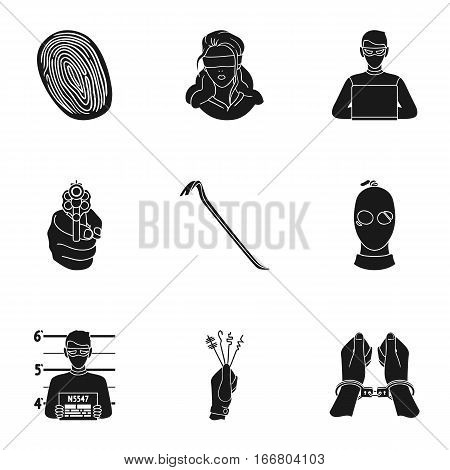 Crime set icons in black style. Big collection of crime vector symbol stock