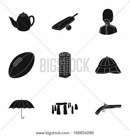 England country set icons in black design. Big collection of England country vector symbol stock illustration.