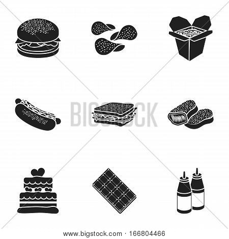 Fast food set icons in black style. Big collection of fast food vector symbol stock