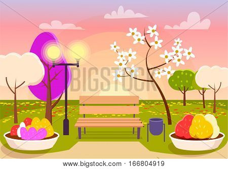 Spring scenery. Urban park with bench, flower beds, colorful trees, sakura blossom. Beautiful spring landscape. Vivid natural panorama. Street lamp, garbage bin. Eco clean environment. Vector