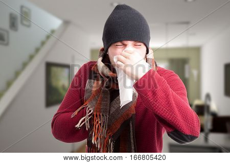 Rhinitis And Flu Concept With Sick Male