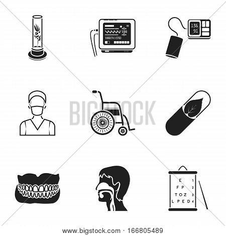 Medicine and hospital set icons in black style. Big collection of medicine and hospital vector symbol stock