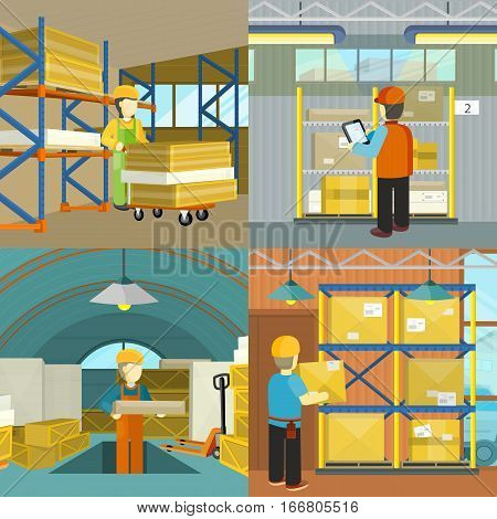 Set of warehouse workers at work. Flat style vector. Man in uniform working with goods in storage. Acquisition and transportation orders. Warehouse interior. Illustrations for delivery companies ad
