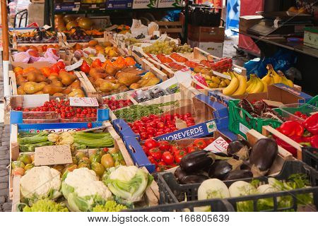 Rome Italy - November 11 2014: A stand with colorful fruits and vegetables on a bazaar in Rome