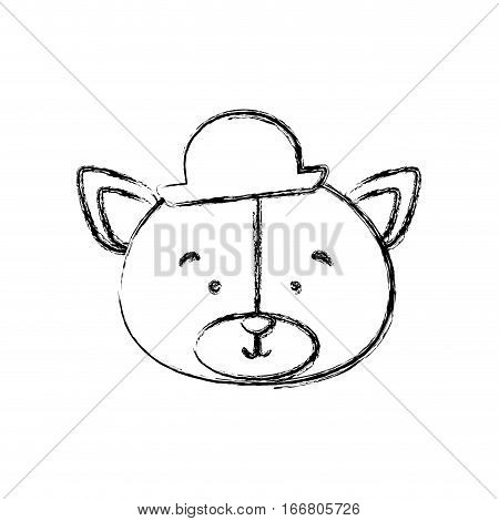 monochrome contour blurr with face of groom bear vector illustration