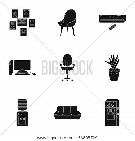 Office furniture and interior set icons in black design. Big collection of office furniture and interior vector symbol stock illustration