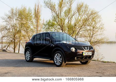 DNIPRO UKRAINE - APRIL 12 2016: NISSAN JUKE NEAR THE EMBANKMENT