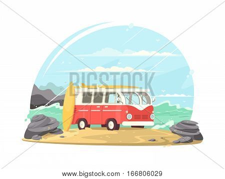 Surfing van with boards for surfing on ocean shore. Vector illustration
