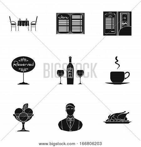 Restaurant set icons in black design. Big collection of restaurant vector symbol stock illustration