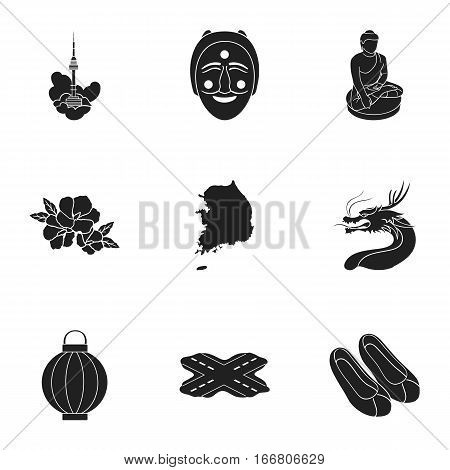 South Korea set icons in black style. Big collection of South Korea vector symbol stock
