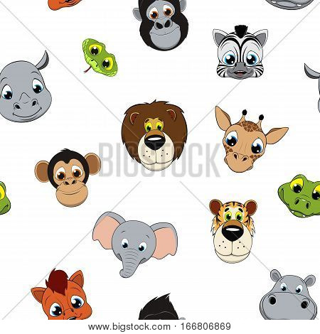Vector illustration, background funny baby animals on a white background.