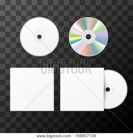 Blank white compact disk from two sides and cover mockup template on transparent background