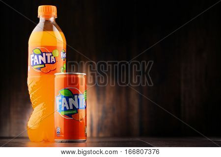 POZNAN POLAND - JAN 20 2017: Fanta is a global brand of fruit-flavored carbonated soft drinks created by The Coca-Cola Company in Germany in 1940
