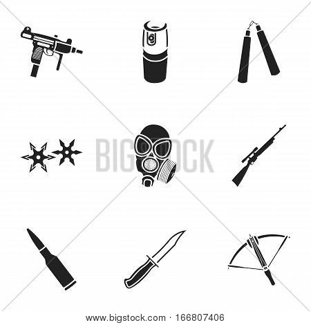 Weapon set icons in black style. Big collection of weapon vector symbol stock