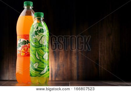 POZNAN POLAND - JAN 18 2017: Mirinda is a brand of soft drink originally created in Spain in 1959 and owned by PepsiCo since 1970