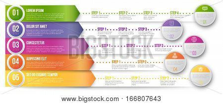 Timeline Infographic Vector Template with Bright Colored Arrows Pointed to Multiple Ways for Different Steps and Goals