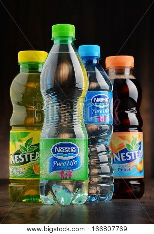 POZNAN POLAND - JAN 18 2017: Nestle is a transnational food and drink company headquartered in Vevey Vaud Switzerland. Among its 8000 brands are bottled water and very popular nestea drinks