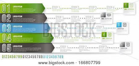 Timeline Infographic Vector Template with Green, Black and Blue Arrows Pointed to Multiple Ways for Different Steps and Goals