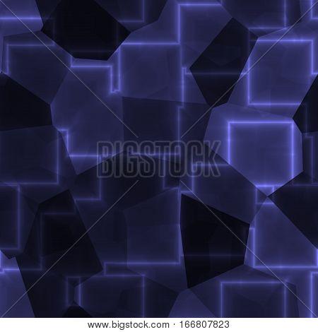 Dark cubic blue glow cubic cube plasma seamless pattern