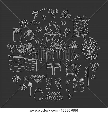 Beekeeping honey collection with apiculture equipment, beekeeper, smoker, beehive, bee, honeycomb, jar and dipper stick isolated on black background. Hand drawn, doodle style illustration.