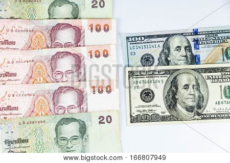 Close up view of US Dollar and Thai Baht indicating strong currency exchange rate
