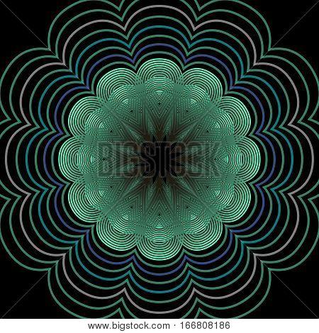 Outline floral motif in green color on black background symmetric vector patterns
