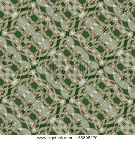 Green abstract vector background with ornament oriented in diagonal strip textile design suitable for drapery