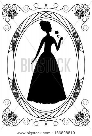 Retro with lady silhouette. Vintage frame with victorian lady. Monochrome drawing. Retro lady silhouette with rose. Retro invitation template. Announcement template.