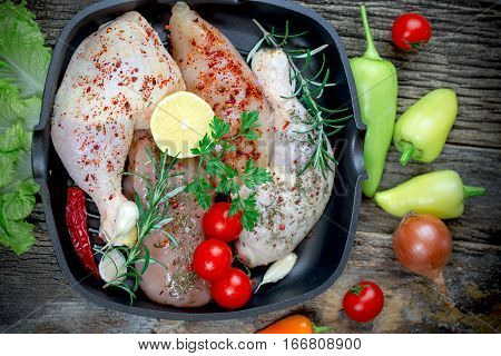 Raw chicken meat - raw chicken drumstick and raw chicken breast