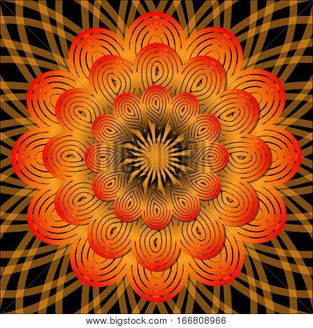 Orange mandala for energy obtaining meditation element