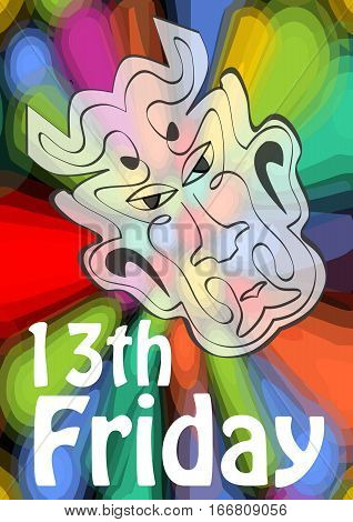 Friday 13th 13 Friday unlucky day with devil head on psychedelic colorful background. Devil symbol of evil and misfortune terrible devil head