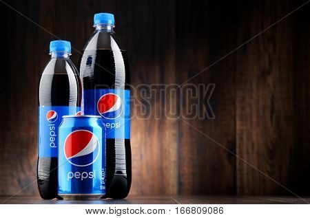 POZNAN POLAND - JAN 18 2017: Pepsi is a carbonated soft drink produced and manufactured by PepsiCo. The beverage was created and developed in 1893 under the name Brad's Drink