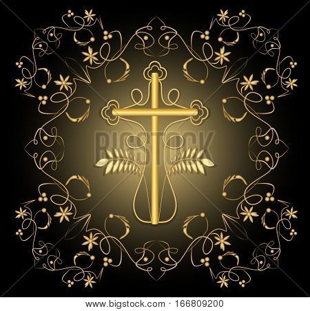 Luxury burial decoration with golden crucifix in golden filigree frame rich decorated