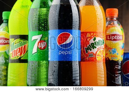 POZNAN POLAND - JAN 19 2017: Flagship products of Pepsico American multinational food snack and beverage corporation headquartered in Purchase New York