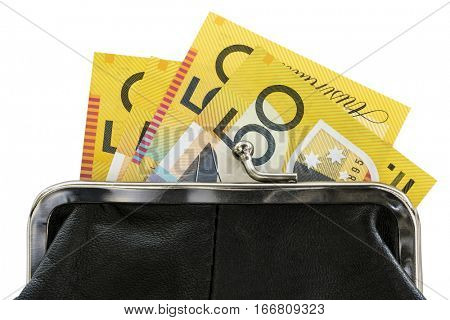 Australian money in purse, over white background.