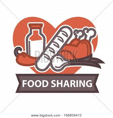 Food Donation and volunteer work icon. Symbols or logo of human care, assistance for health, help and hope sign. Flat design element in red color.