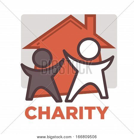 Donation and volunteer work icon. Symbols or logo of human care, assistance for health, help and hope sign. Flat design element in red color.