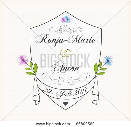 Cute Wedding Invitation Card. Calligraphic elegant ornament. Vector illustration.