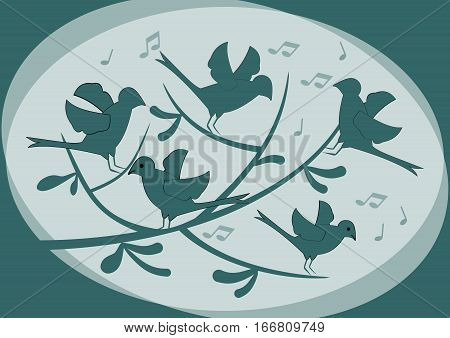 Silhouettes of birds sitting on a branch and singing abstract illustration in dark green on light background moody fantasy image